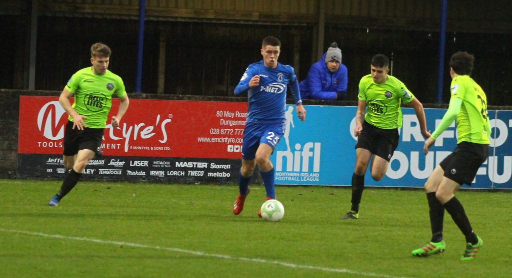 Kris Cowan & Ben Mullen in action against Dungannon Swifts.